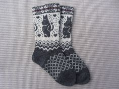 Knit wool socks, wool socks with a pattern, handmade socks,christmas socks, fairisle socks Wool Socks, Knitting Socks, Free Knitting, Fair Isle Knitting Patterns, Knit Leg Warmers, Winter Socks, Socks And Heels, Knit Leggings, Alpaca Wool