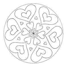 Symmetrical Hearts Mandala for pre-K, kindergarten and elementary school Heart Coloring Pages, Colouring Pages, Coloring Books, Mandala Drawing, Mandala Art, Lotus Flower Art, Valentine Theme, Valentines, Easy Drawings For Beginners