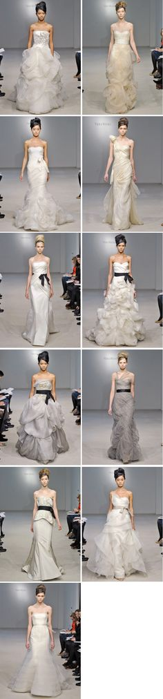 Beautiful wedding gowns I really like the grey and white dress with the black sashes that are diagonal from ea. other!!!
