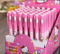 Wholesale Hello Kitty Stationery - Free shipping Lot 1box 48X Hello Kitty Led Touch light pen,office school supplies Stationery Ballpoint Pen