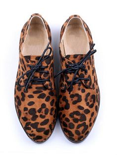 Leopard Pointed Toe Lace-up Shoes