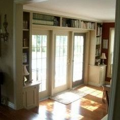 Traditional Family Room Built In Bookcase Design, Pictures, Remodel, Decor and Ideas - page 5 Living Room White, Home And Living, Home And Family, Living Rooms, Living Spaces, Shelf Over Window, Basement Master Bedroom, Built In Bookcase, Bookcases
