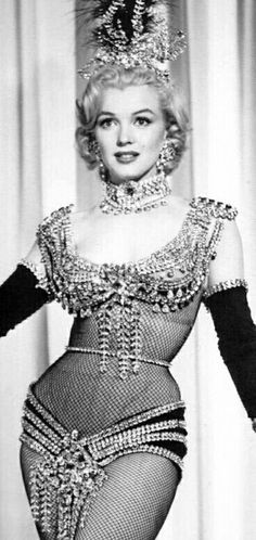 "Marilyn in a costume test for ""Gentlemen Prefer Blondes"", 1952."