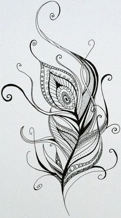 . Zentangle Drawings, Mandala Drawing, Art Drawings Sketches, Zentangle Patterns, Mandala Art, Mandala Tattoo, Feather Drawing, Feather Art, Feather Tattoos