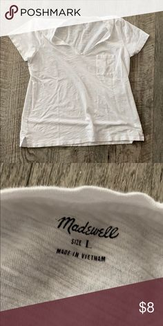 MADEWELL White V Neck T-Shirt Size Large Madewell Tops Tees - Short Sleeve
