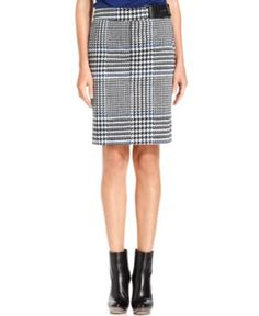 Houndstooth-Check Pencil Skirt
