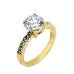 Gold round CZ engagement ring with CZ accented band. Sizes 5-9. Item #: r2128-gd