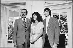 President Nixon and The Carpenters in the Oval Office.