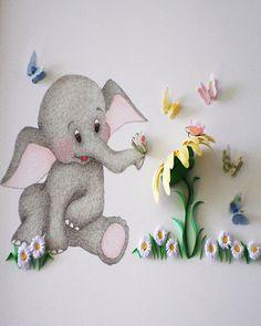 Nursery Art, Baby Elephant with 3D Butterflies, Children's decor, Animal Picture, New Born Art, Baby Shower Gift, Christening Present