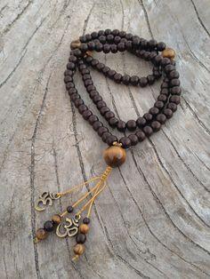 Bone and Tiger Eye Traditional Tibetan Buddhist Mala Prayer Bead Necklace Boho Jewelry, Jewelry Crafts, Beaded Jewelry, Jewelry Necklaces, Handmade Jewelry, Jewelry Design, Beaded Bracelets, Jewellery, Handmade Necklaces