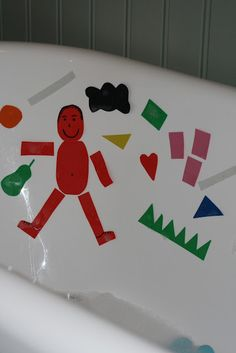 Foam pictures in the tub or on glass. Can be used to make words, sentences, pictures, patterns, etc.