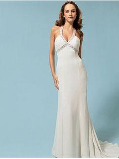 robe de mariée d'été de lux à bas prix avec deux bretelles croisées au cou et un cou en V