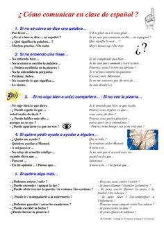 vocabulario-para-comunicar-en-clase-de-espanol by PASTRE Julien via Slideshare; use left side for classroom expressions to communicate needs