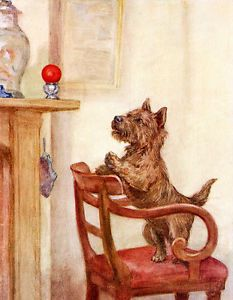 CAIRN TERRIER CHARMING DOG PRINT GREETINGS NOTE CARD DOG WANTS TO PLAY WITH BALL