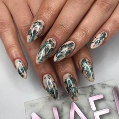 Lovin' these leafy numba's by #nafanna !! Fresh set of acrylic extensions with full hand painted nail art - tough job but not for our NAF! QUEENS