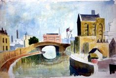 This is a watercolour & crayon version of Canal, Mile End by Elwin Hawthorne pic.twitter.com/sxzijeACpg