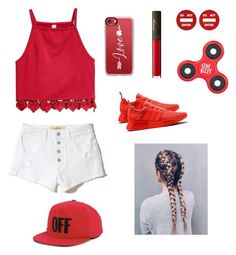 """Red,red,red,red,red,red,red & white🔴⚪️"" by laeticia11 on Polyvore featuring NARS Cosmetics, Moschino, Hollister Co., adidas, Casetify and Off-White"