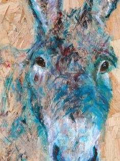 """This is a close up of """"Happy Donkey"""" acrylic painting by Caroline Skinner Art, with some proceeds to the Donkey Sanctuary.. Your visitors will admire the unusual textured chipboard surface of this unique cheerful farmyard artwork. You might need a """"Do Not Touch"""" sign next to it! Go to link for more information Farm Animals, Animals And Pets, Texture Board, The Donkey, Artwork Online, Blue Painting, Farm Yard, Chipboard, Animal Paintings"""