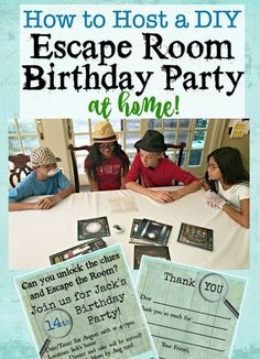 How to Host a DIY Escape Room Party at Home! Would your tween or teen love to have an Escape Room birthday party at home but you have no idea wh Teen Girl Birthday, Birthday Party At Home, Boy Birthday Parties, Teen Birthday Games, 11th Birthday, Birthday Celebration, Women Birthday, Birthday Woman, Kids Party Games