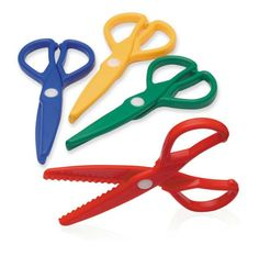 These zig zag scissors cut through paper and modelling dough. Cutting dough is an excellent way for children to practice using scissors in a safe way. Zig Zag Scissors, Metal Scissors, Safety Scissors, Half Elf Bard, Modeling Dough, Kids Store, Arts And Crafts Supplies, Cool Things To Make, Color