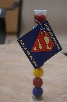 SuperMan Party Favors Superman gumball tubes by DaiseyDoos Superman Party Favors, Superman Birthday Party, Leo Birthday, Superhero Party, Boy Birthday Parties, Birthday Ideas, Kalel Superman, Comic Party, 50th Party