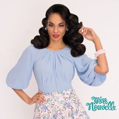 Miss Nouvelle - Rita Blouse, Peri - vintage inspired, pinup, blue, full sleeves, retro, 1940s, 1950s, rockabilly