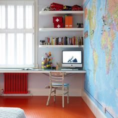 A huge map of the world used as wallpaper not only creates a great feature but it's educational too!