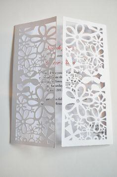 Deluxe Flower Butterfly Gatefold Laser Cut Wedding Invitation - Pack of 25. £49.00, via Etsy.