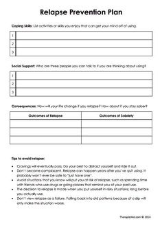 relapse prevention plan worksheets - Google Search | Relapse ...