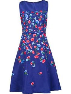 floral embroidery flared dress