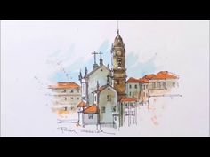 A Water Brush Demonstration. line and wash watercolour of a Cathedral in Portugal - YouTube