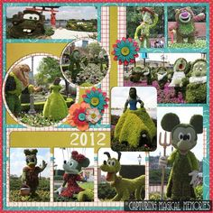 #Disney #EpcotinSpring 2013 #Scrapbook Page Layout- the Fab 3 + Pluto