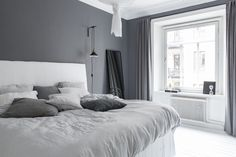 99 White And Grey Master Bedroom Interior Design 36 Master Bedroom Interior, Gray Bedroom, Home Decor Bedroom, Bedroom Curtains, Design Bedroom, Bedroom Furniture, Bedroom Styles, Grey Walls, House Design