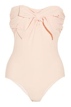 Super classy one piece swimsuit. Not only does it flatter your body, but the off-white color accentuates your tan! IT ONLY NEEDS.STRAPS!!!! (make them)