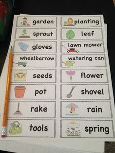 FREE spring words. Print four per page to use in your writing center!