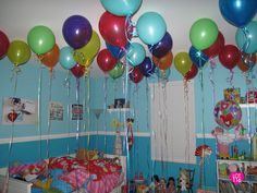 Sneak balloons in the child's room at night so they wake up to a room full of balloons...very fun idea!