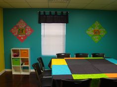 Pre-Teen Sunday School Class - Bright Colors with Scripture on the Wall