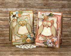 Witajcie :)  Dziś chcę Wam pokazać 6 karteczek z sówkami, jakie przygotowałam na Dzień Nauczyciela.  Kartki zrobiłam używając wielu papierów...