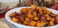 Thanksgiving Side Dish: Maple Bacon Pecan Roasted Butternut Squash #PaleOMG