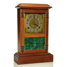 "Sessions ""Shop of the Crafters"" Mission-Style Mantel Clock Old Clocks, Antique Clocks, William Morris Art, Fancy Hands, Classic Clocks, Metal Grid, Clock Shop, Arts And Crafts Furniture, Mantle Clock"