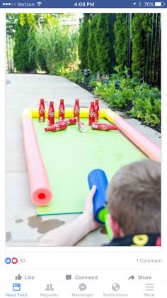 DIY Outdoor Bowling Game, made using Coke bottles, a yoga mat and pool noodles!… DIY Outdoor Bowling Game, made using Coke bottles, a yoga mat and pool noodles! Play it with a supersoaker for summer water fun for kids! Summer Games, Summer Kids, Summer Activities, Outdoor Bowling, Outdoor Toys, Outdoor Play, Outdoor Camping, Camping Games Kids, Outdoor Games For Kids