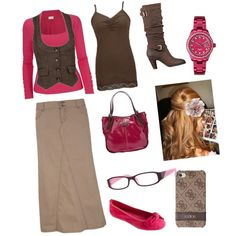 Pink and brown... Love how the could be considered a kinda dressy outfit or a casual outfit! and I love the boots!