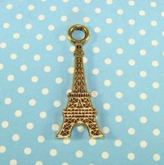 10 Eiffel Tower Charms Gold Plated Pewter USA Made 30mm Paris