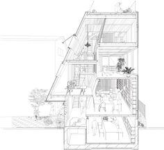 image. This sectional perspective of the Atelier Bow Wow house ...