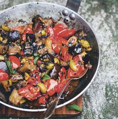 Sicilian caponata recipe from Green Kitchen Travels by David Frenkiel Sicilian Caponata Recipe, Green Kitchen, Vegan Recipes, Delicious Recipes, Side Dishes, Easy Meals, Good Food, Vegetarian, Lunch