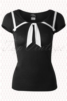 1bd26f5e3858 Steady Clothing - 50s Lucky Sailor Top in Black 40s Mode