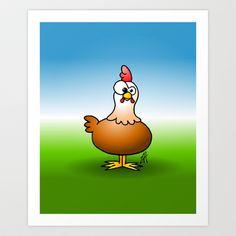 Chicken Art Print by Cardvibes - $17.68 #Society6 #Cardvibes #Tekenaartje