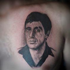 Realistic Al Pacino Tony Montana Portrait Vintatts