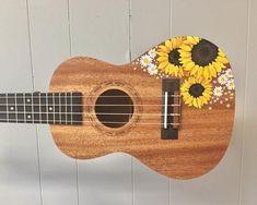 Art Sunflower Handpainted Ukulele A Guide to Vines and How to Vine Beauty with Your Garden If you fi Ukulele Art, Ukulele Songs, Ukulele Chords, Guitar Chord, Aesthetic Painting, Aesthetic Art, Aesthetic Grunge, Aesthetic Vintage, Ukelele Painted
