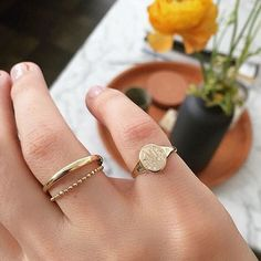 pinky rings are so cool//Vale Jewelry Skinny Signet Ring with monogram Dainty Jewelry, Cute Jewelry, Gold Jewelry, Jewelry Box, Jewelry Accessories, Fashion Accessories, Handmade Jewelry, Fashion Jewelry, Dainty Ring